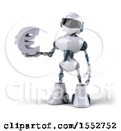 Poster, Art Print Of 3d Blue And White Robot Holding A Euro On A White Background
