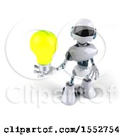 Poster, Art Print Of 3d Blue And White Robot Holding A Light Bulb On A White Background