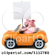 3d Chubby Pig Driving A Convertible On A White Background