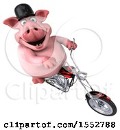3d Chubby Pig Biker Riding A Chopper Motorcycle On A White Background