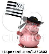 Poster, Art Print Of 3d Chubby Breton Pig On A White Background