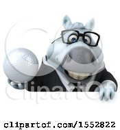 3d Chubby White Business Horse Holding A Golf Ball On A White Background