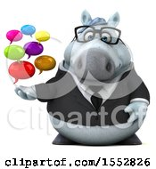 3d Chubby White Business Horse Holding Messages On A White Background