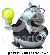 3d Chubby White Business Horse Holding A Light Bulb On A White Background
