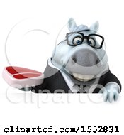 3d Chubby White Business Horse Holding A Steak On A White Background