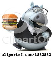 3d Chubby White Business Horse Holding A Burger On A White Background