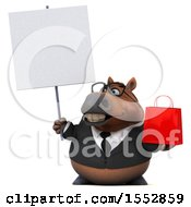 3d Chubby Brown Business Horse Holding A Shopping Bag On A White Background