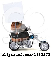 Clipart Of A 3d Chubby Brown Business Horse Biker Riding A Chopper Motorcycle On A White Background Royalty Free Illustration