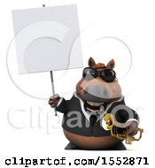 3d Chubby Brown Business Horse Holding A Trumpet On A White Background