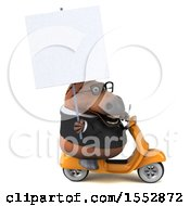 Clipart Of A 3d Chubby Brown Business Horse Riding A Scooter On A White Background Royalty Free Illustration