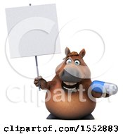3d Chubby Brown Horse Holding A Pill On A White Background