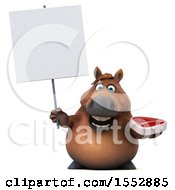 3d Chubby Brown Horse Holding A Steak On A White Background