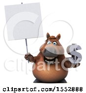 Poster, Art Print Of 3d Chubby Brown Horse Holding A Dollar Sign On A White Background