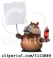 Poster, Art Print Of 3d Chubby Brown Horse Holding A Soda On A White Background