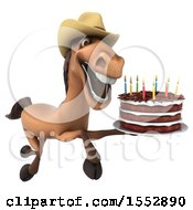 Clipart Of A 3d Brown Cowboy Horse Holding A Birthday Cake On A White Background Royalty Free Illustration