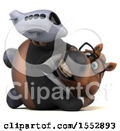 Clipart Of A 3d Chubby Brown Business Horse Holding A Plane On A White Background Royalty Free Illustration