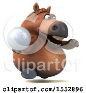 3d Chubby Brown Horse Holding A Golf Ball On A White Background