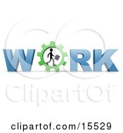Silhouetted Person Carrying A Briefcase And Walking In A Gear That Forms The Letter O In The Word Work Clipart Illustration Image