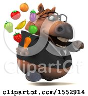 3d Chubby Brown Business Horse Holding Produce On A White Background