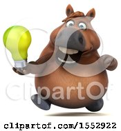 3d Chubby Brown Horse Holding A Light Bulb On A White Background