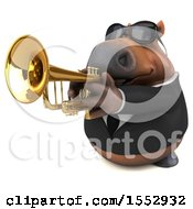 Poster, Art Print Of 3d Chubby Brown Business Horse Playing A Trumpet On A White Background