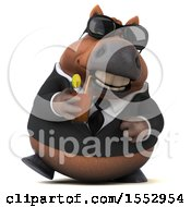 3d Chubby Brown Business Horse Drinking A Beverage On A White Background