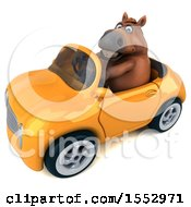 3d Chubby Brown Horse Driving A Convertible On A White Background