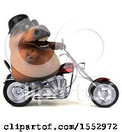 Clipart Of A 3d Chubby Brown Horse Biker Riding A Chopper Motorcycle On A White Background Royalty Free Illustration