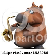 3d Chubby Brown Horse Holding A Saxophone On A White Background