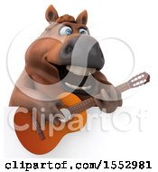 Poster, Art Print Of 3d Chubby Brown Horse Playing A Guitar On A White Background