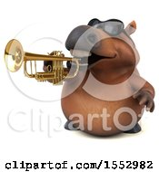 Poster, Art Print Of 3d Chubby Brown Horse Playing A Trumpet On A White Background