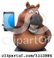 3d Chubby Brown Horse Holding A Smart Phone On A White Background