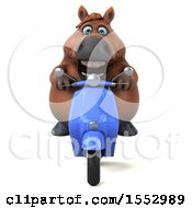 Clipart Of A 3d Chubby Brown Horse Riding A Scooter On A White Background Royalty Free Illustration