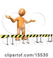 Orange Person Stuck Behind Caution Signs Not Sure Where To Go Clipart Illustration Image