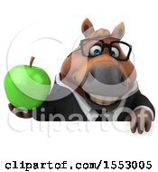 3d Chubby Brown Business Horse Holding An Apple On A White Background