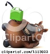 3d Chubby Brown Horse Holding A Gas Can On A White Background