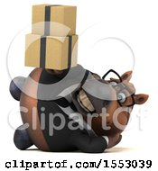 3d Chubby Brown Business Horse Holding Boxes On A White Background