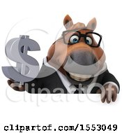 3d Chubby Brown Business Horse Holding A Dollar Sign On A White Background