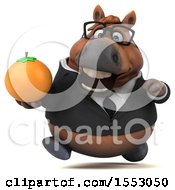 3d Chubby Brown Business Horse Holding An Orange On A White Background