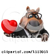 3d Chubby Brown Business Horse Holding A Heart On A White Background