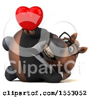 Poster, Art Print Of 3d Chubby Brown Business Horse Holding A Heart On A White Background