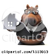 3d Chubby Brown Business Horse Holding A House On A White Background