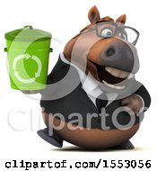 3d Chubby Brown Business Horse Holding A Recycle Bin On A White Background