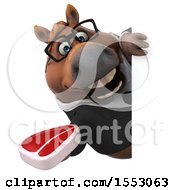 3d Chubby Brown Business Horse Holding A Steak On A White Background
