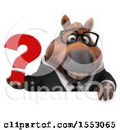 3d Chubby Brown Business Horse Holding A Question Mark On A White Background