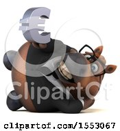 3d Chubby Brown Business Horse Holding A Euro On A White Background