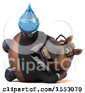3d Chubby Brown Business Horse Holding A Water Drop On A White Background