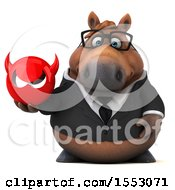 3d Chubby Brown Business Horse Holding A Devil On A White Background