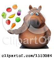 3d Chubby Brown Horse Holding Produce On A White Background