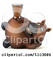 3d Chubby Brown Horse Holding A Beer On A White Background